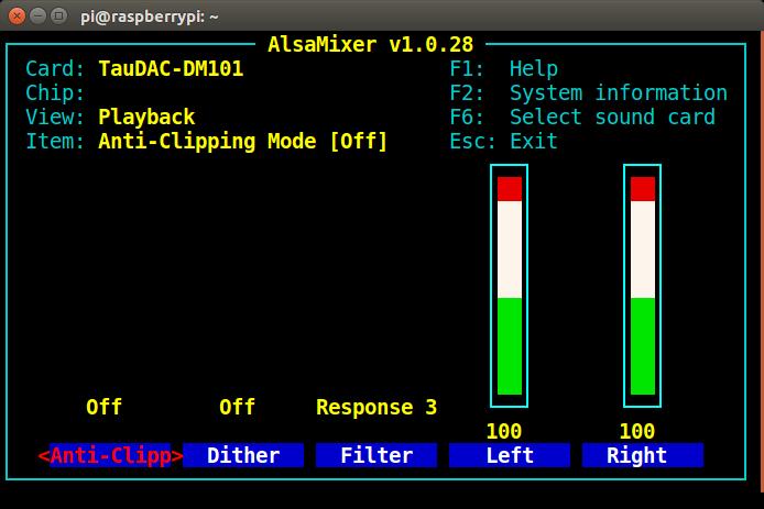TauDAC AlsaMixer Controls