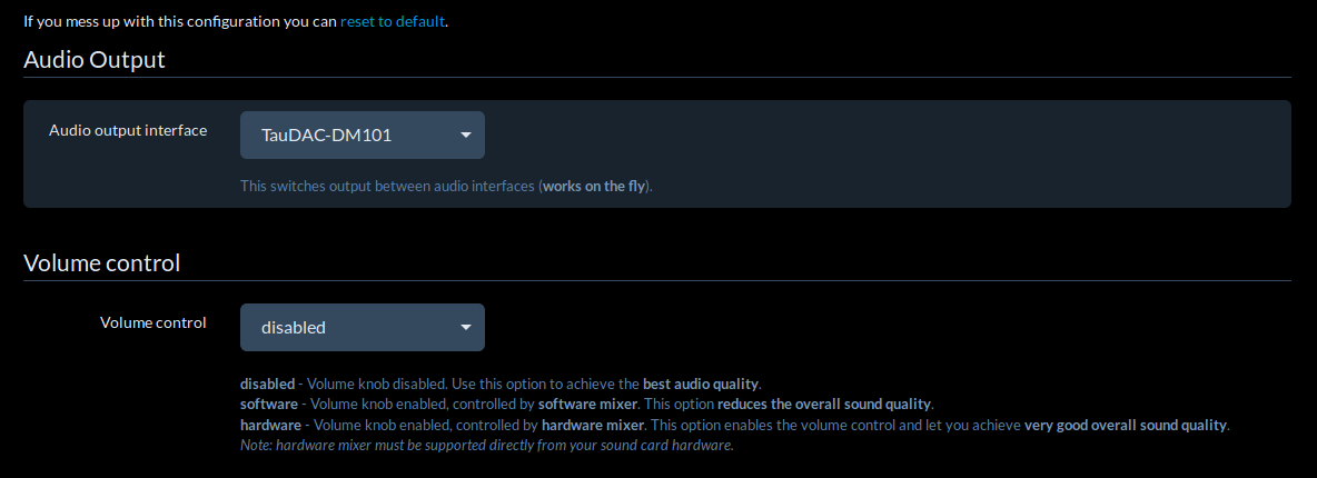 Screenshot: RuneAudio TauDAC Configuration